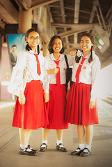 A Trio of Thai School Girls (The Tea God) Tags: travel girls red smiling female asian uniform southeastasia exterior bangkok teenagers thai schoolgirls   kingdomofthailand