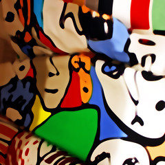 Faces (hollykl) Tags: photomanipulation square faces digitalart fabric arteffects