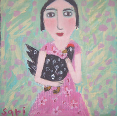(# 1114) hold (sariart2) Tags: original abstract chicken girl collage altered painting mixed media raw outsider sari primitive azaria noy