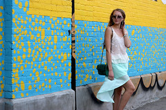 white top blue skirt (Natalie Ast) Tags: toronto west green car fashion vintage shopping this graffiti frozen is blog downtown paradise purple district mint style skirt blogger canadian queen purse clutch accessories yogurt zara snakeskin froyo yogurtys