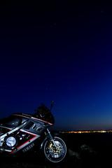 _MG_6987 (kasperkkjaer) Tags: ocean longexposure nightphotography sunset sea nature water night dark transport bluesky led citylights motorcycle yamaha fz750 hadsund supersport sportsbike mariager havn