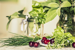 profumi e sapori d'estate / summer fragrances and tastes (zozoros) Tags: stilllife cherries herbs fragrances erbe aromatiche