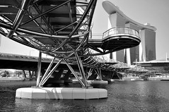 The Helix Bridge (KongWah Pandagraphy) Tags: bridge black architecture landscape photography singapore stainlesssteel picture landmark double structure dna helix bwphoto marinabaysands kongwah pandagraphy