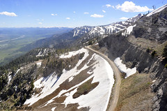 The road to Rendezvous. Ride the tram up, walk down the road, 7.2 miles to Teton Village. (photo taken from the tram) (V. C. Wald) Tags: grandtetonnationalpark bridgertetonnationalforest rendezvouspeak jacksonholeaerialtram
