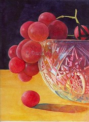 Grapes in Crystal Bowl 72dpi (danac84) Tags: art watercolor painting crystal grapes cutglass