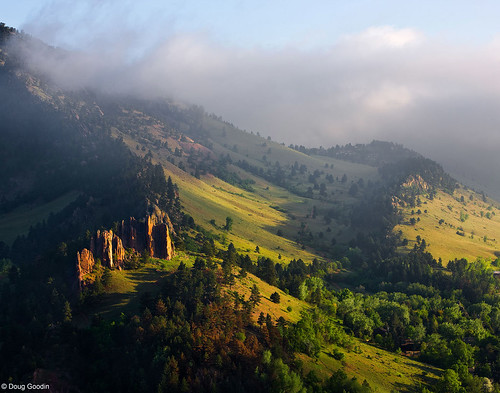 Photo - Red Rocks and Mount Sanitas on a misty morning.
