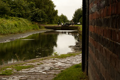 locks from under the bridge (downhamdave) Tags: bridge trees water canon 50mm canal locks f18 towpath walsall bloxwich leamore