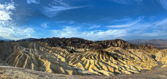 Zabriskie Point (Daniel J. Mueller) Tags: park mountains colors clouds landscape rocks desert wolken fisheye berge national valley deathvalley zabriskiepoint landschaft farbe hdr tal wste felsen d800e vision:mountain=059