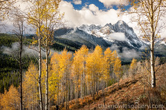 Horstman Peak autumn clearing fog (The Knowles Gallery) Tags: autumn color idaho sawtoothnationalforest sawtooths stanley trees aspens beautiful camping clouds fall forest mountainrange mountains nature outdoors reflection rock sky wilderness