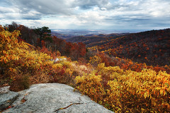 Vibrant Vista (Brian Truono Photography) Tags: hdr highdynamicrange nps nationalpark nationalparkservice shenandoah skylinedrive virginia autumn blue clouds colors fall landscape leaves mountains natural nature red rock sky stone trees valleys yellow