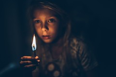 Now what? (aamith) Tags: portrait fire match 50mm bokeh dof flame kids