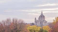 Dramatic Clouds over Cathedral (Sam Wagner Photography) Tags: twilight motion blur cathedral stpaul minnesota mn classic church compressed telephoto dramatic colorful autumn fall sunset