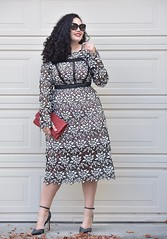Bringin' Sexy Back (GirlWithCurves) Tags: taneshaawasthi girlwithcurves lacedress curvyfashion curvystyle lacemididress redclutch curlyhair plussize