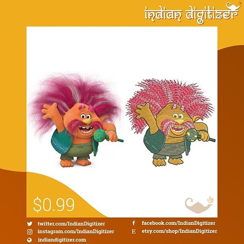 #peppy available at our etsy shop - link in the photo.   #Dreamworkstrolls #trolls #art #design #embroidery #machinedesign #4x4hoop