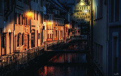 A Place for the Night (VandenBerge Photography) Tags: night river town city cityscape nightscape hotel freiburgimbreisgau germany europe canon blackforest fischerau
