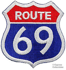 ROUTE 69 EMBROIDERED PATCH - SEXY HIGHWAY ROAD SIGN 66 iron-on PARODY HUMOR (couponrainbow) Tags: embroidered highway humor ironon parody patch road route sexy sign