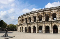 Roman Ampitheatre at Nimes (big_jeff_leo) Tags: nimes france roman temple arena building stone ancient architecture city facade fountain french empire old pilar column