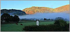 Misty morning. (stu.bloggs..Dont do Sundays) Tags: borrowdale rosecottage rosthwaite cumbria lakedistrict fells mist trees livestock farmland farm signpost pasture autumn october 2016 colours colourful hedgerows sunlight earlymorning dawn sunrise landscape