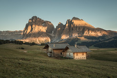 An evening at the Seiser Alm (helena678) Tags: alpine meadow cottage mountains eveninglight sunset october autumn fall langkofel plattkofel dolomites italy seiseralm alpedisuisi