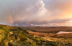 Buckstones and March Haigh - Rainbow and sunset (Mark Schofield @ JB Schofield) Tags: pennines pennineway peat nationalpark thenationaltrust marsden huddersfield yorkshire landscape rock buckstones scammonden marchhaigh reservoir sunset rainbow pulehill moors moorland autumncolours