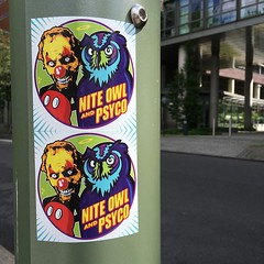Berlin with Nite Owl (PSYCO ZRCS 10/12) Tags: sticker stickers stickerart stickerporn stickerlife stickerculture street art slaps slap tagging vinyl bombing worldwide psyco nite owl berlin vandalism digital collab collaboration collabo graphic design graffiti legend