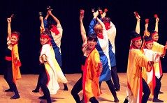 Yocchore (Sakuramai Toronto) Tags: dance danceto music yosakoi toronto japan japanese         indoor indoors people girl smile dancer group pose costume color red orange blue