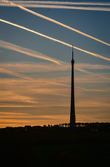 Linear (littlestschnauzer) Tags: emley moor mast tv signal transmitter transmitting station west yorkshire uk sky skies winter clear linear vapour trailes air traffic pattern 2016 tall structure nikon tower high rural countryside landmark