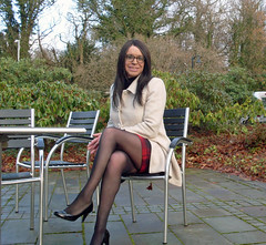 Sitting Still (Starrynowhere) Tags: emmaballantyne starrynowhere transvestite tgirl transvestism transgender crossdresser crossdressing crossdressed tranny legs tights pantyhose nylons crossedlegs glasses coat dressedasagirl dressedasawoman wearingwomensclothes public outside