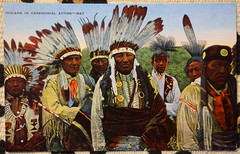 """USA vintage US postcard circa late 1940s showing 'Indians' in ceremonial attire - """"Ol School"""" (moreska) Tags: usa vintage us postcards nativeamerican firstnation indian unpc staged posed feathers ceremony grab 1940s forties tourism travel wildwest collectibles hobbies colors keepsakes postwar americana iconic keepsake north america"""