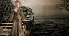 When the east wind blows...know that i am near. (Nadia..Malady Baxton) Tags: secondlife wind blow sea steps violin outdoors east