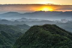the rising sun (canon-Tom) Tags: sun sunrise morning sunset sunlight mountain mountains clouds cloud sky landscape travel nature city taipei taiwan asia tree fog foggy light