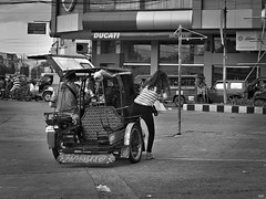 Stepping Out (Beegee49) Tags: filipina alights tricycle street bacolod city philippines