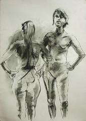zwei Stehende, Rucken und frontal (Alemwa) Tags: alemwa berlin kreuzberg zeichnung zeichnen sketching skectch akt aktzeichnung nude lifedrawing zeichnennachmodell woman frau portrait