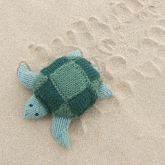 Knitted turtle walking on the sand (Kath Dalmeny) Tags: toy knitted kath dalmeny turle