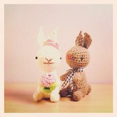Bunny Love (Meemanan) Tags: wedding cute rabbit love cozy handmade crochet kawaii amigurumi handcraft crochetdolls meemanan
