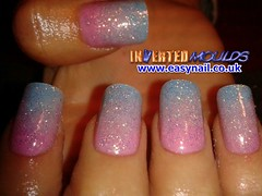 Cheryl Cotton Candy Fade into Blue (invertednailsystems) Tags: uk pink orange black art yellow glitter training silver gold amazing neon pretty im nail powder course nails salon technician extension inverted false ims extensions nailart courses moulds enuk invertednailsystems easynail easynailuk