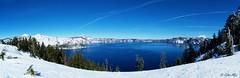 Crater Lake in Winter (Daiku_San) Tags: blue winter oregon craterlakenationalpark stitchedpanorama pentaxk20d smcpentaxda1428