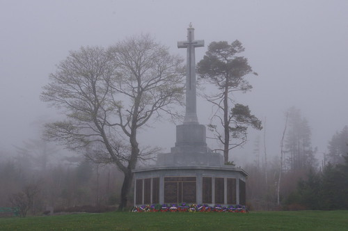 memorial in the fog