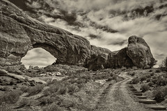 Steps to North Window Arch (FarzinPhoto) Tags: park blackandwhite bw utah nationalpark ut arch arches moab canon2470 northwindowarch canon5dmarkiii farzinphoto farzinmontazersadgh