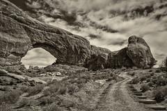 Steps to North Window Arch (FarzinPhoto) Tags: park blackandwhite bw utah nationalpark ut arch arches moab canon2470 northwindowarch canon5dmarkiii farzinphoto farzinmontazersadgh