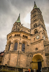 Bamberg Cathedral - Germany (mbell1975) Tags: old cloud tower fall clock church abbey st germany bayern deutschland town und catholic cathedral bell cloudy roman dom kirche eu chapel bamberg belltower clocktower peter german romanesque turm altstadt oldtown deutsch georg kirke kapelle bayer bamberger