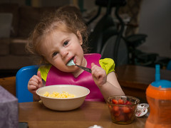 Hannah Dines: Was That Funny, Grandpop? (Entropic Remnants) Tags: pictures camera family children lens photography photo child image photos pics eating flash picture pic olympus images panasonic g5 photographs photograph dining f28 remnants entropic 1235mm fl600r dmcg5