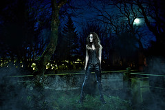 Undead (LalliSig) Tags: blue trees portrait sky people woman moon black tree green fashion night dark lights iceland cemetary gray portraiture undead after barren