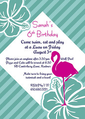 Flamingo/Luau Birthday (maddieandmarry) Tags: birthday party beach floral pool cake swim aqua miami teal magenta hibiscus invitation luau hawaiian tropical aloha 6th hotpink