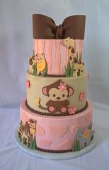 Jungle Baby Shower Cake (My Sweet Austin) Tags: pink elephant monkey zebra giraffe hippo buttercream tieredcake babyshowercake jungleanimal mysweetaustin