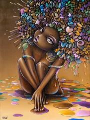 ToileLondres2 (VinieGraffiti) Tags: portrait london painting graffiti couleurs femme peinture shoreditch perso viny visage vini toile cheveux vinie viniegraffiti