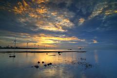 sunset (Thunderbolt_TW) Tags: sunset sea sky sun reflection water windmill canon landscape taiwan     windturbine  changhua       hsienhsi   changpingindustryarea