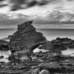 Helmet Rock (marco ferrarin) Tags: longexposure sea blackandwhite water rock japan seaside olympus omd fukaura em5 helmetrock innamoramento