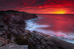 Cape Solander (stevoarnold) Tags: sunset red seascape night clouds sunrise bay cloudy sydney australia cliffs nsw newsouthwales botany clifftop botanybaynationalpark capesolander