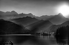 Tramonto a Barcis (Sunset in Barcis) (Goethe58) Tags: blackandwhite bw water river noiretblanc hdr biancoenero wonderfulworld noireblanc bwhdr flickraward hdrpanoramas hdraddicted nikonflickraward altrafotografia mountainsnaps d5100 nikond5100 stitchedpanoramua